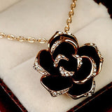 Black Rose Women Pendant Necklace