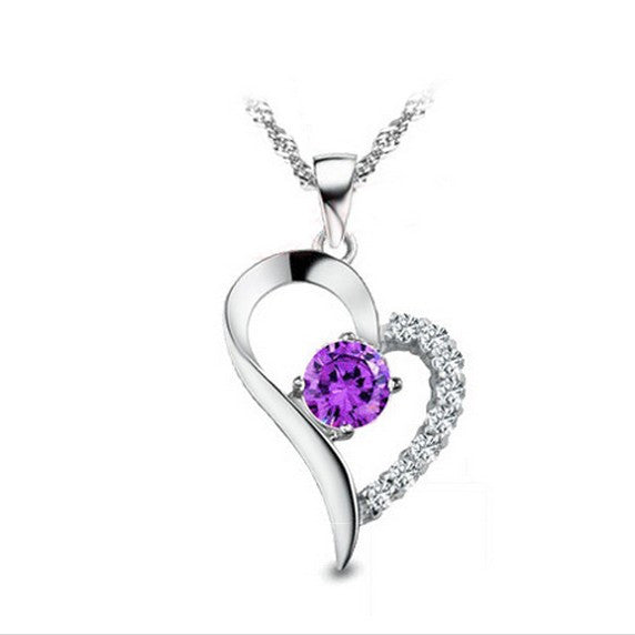 Women's Pendant Necklace Daily Mutual Affinity 925 Sterling Silver Purple