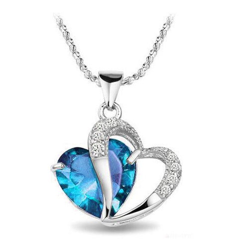 Love Heart Cut Zircon Diamond 925 Sterling Silver Pendant Necklace