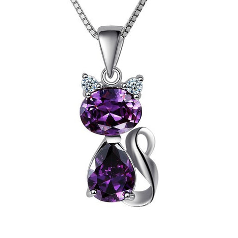 Purple Cat 925 Sterling Silver Pendant Necklace