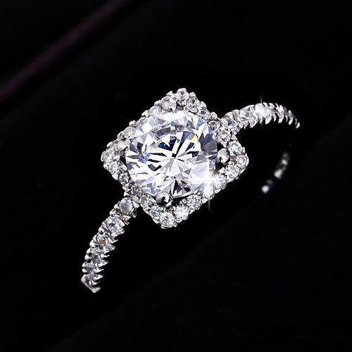 womens engagement rings wedding square cubic zirconia 925 sterling silver silver - Square Wedding Rings