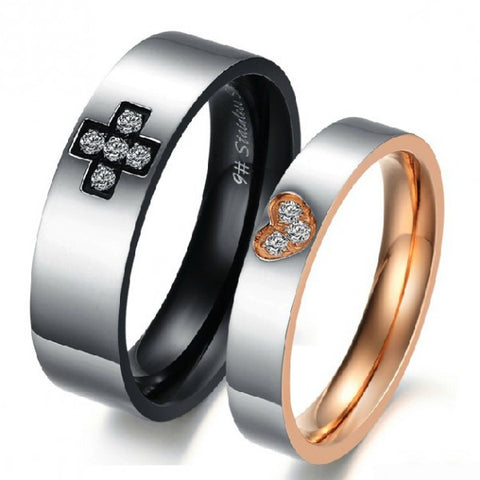 Personalized Titanium Steel Cross & Heart Crystal Couple Rings