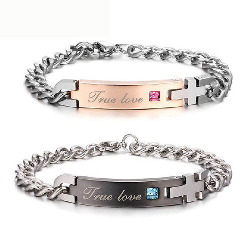 "Titanium Cross Engraved ""True Love"" Zircon Inlay Couple Bracelets"