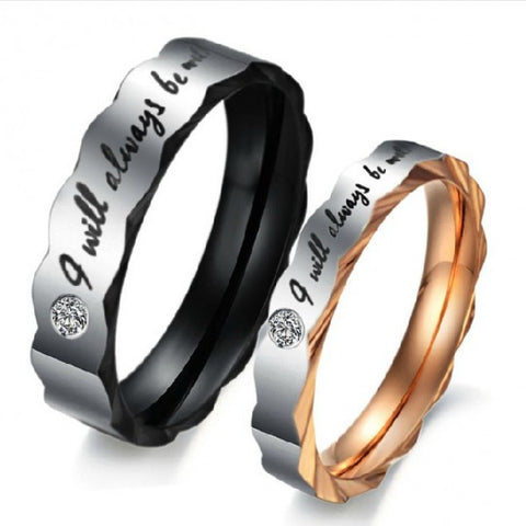 "Personalized ""I will Always be with You"" Brush Titanium Couple Rings"