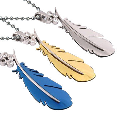 Feather With Crystal Titanium Stainless Steel Men Necklace
