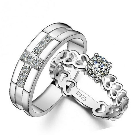 925 Sterling Silver Cross/ Hollow Heart Round Zircon Couple Rings