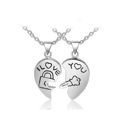 I Love You Match Heart 925 Sterling Silver Lovers