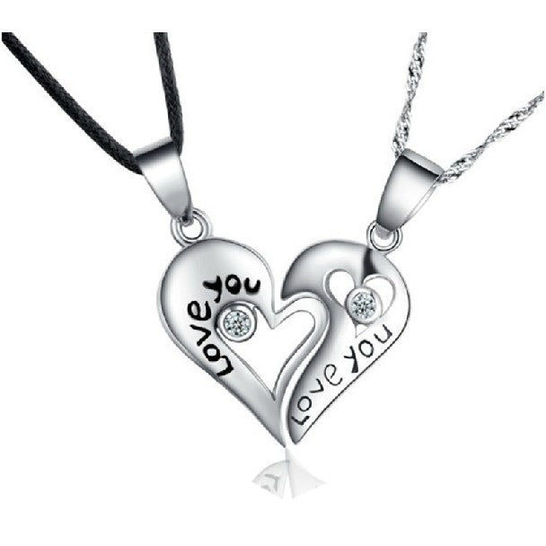 """Love You"" Heart 925 Sterling Silver Lovers Necklaces A Pair"