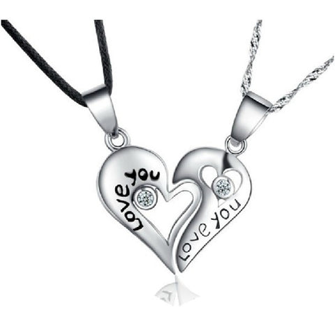 "Personalized ""Love You"" Heart 925 Sterling Silver Lovers Necklaces A Pair"