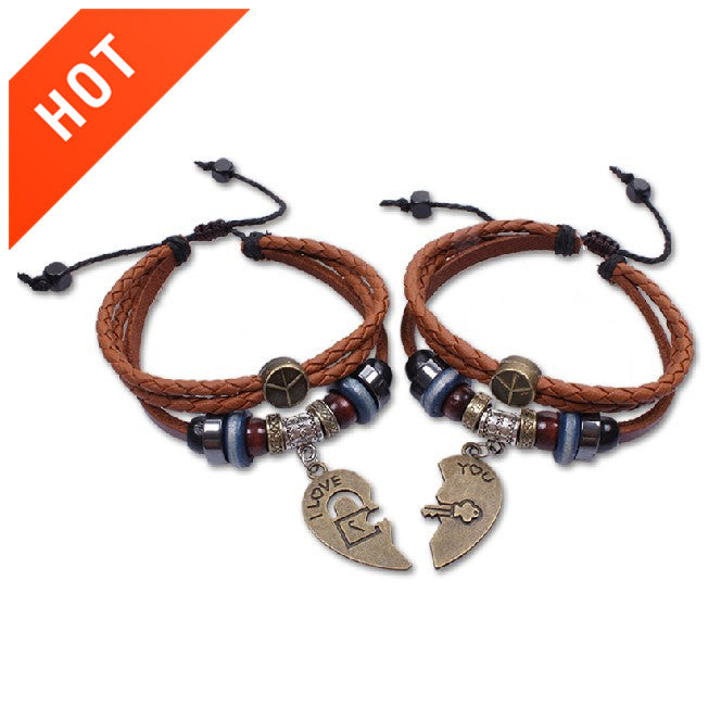 Couple Vintage Bracelets Daily Heart-shaped Leather Brown