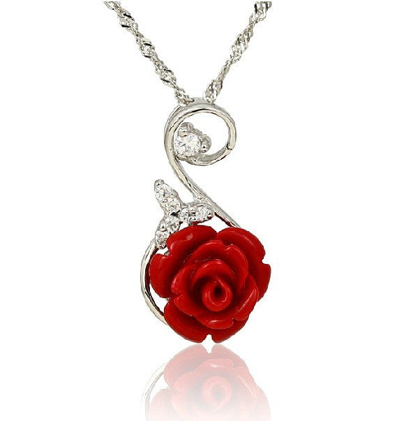 Red rose 925 sterling silver womens necklace evermarker red rose 925 sterling silver womens necklace mozeypictures Choice Image