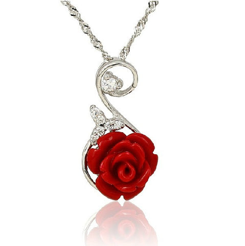 Red Rose 925 Sterling Silver Women's Necklace