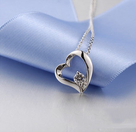 Sweet Heart With Crystal 925 Sterling Silver Women's Necklace