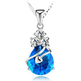 Cupid's Embrace of a Blue Crystal Sterling Silver Pendant