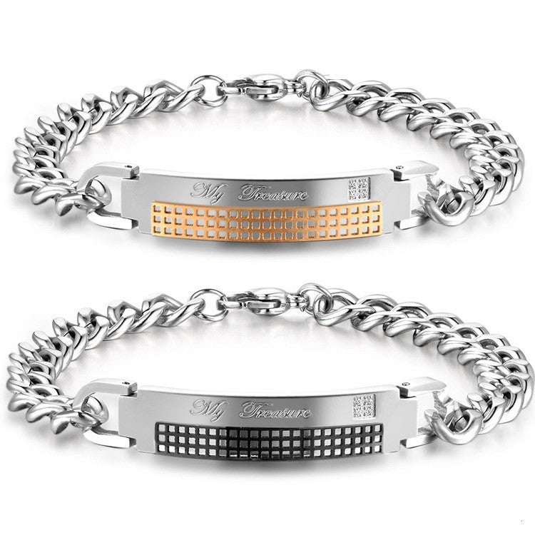 titanium chain and plate customize letters lover s bracelets