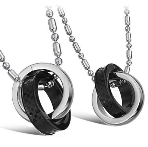 blackandsilver-double-rings-pendant-stainless-steel-lover-s-necklace-price-for-a-pair