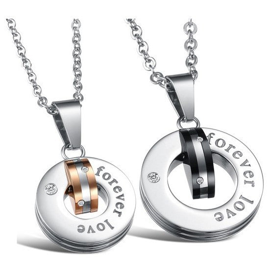 elegant-stainless-steel-with-crystal-ring-style-pendant-lover-s-necklace-price-for-a-pair