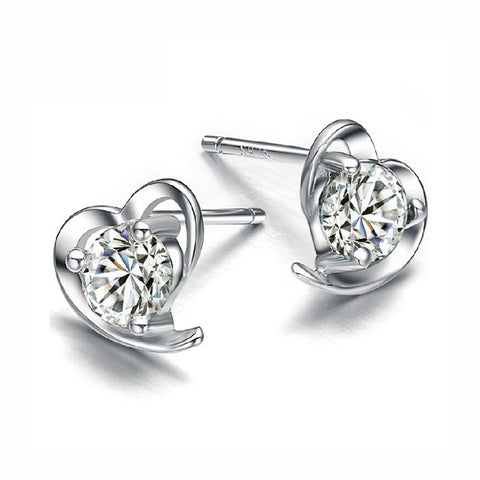 925 Sterling Silver Heart Shape Zircon Diamond Stud Earrings