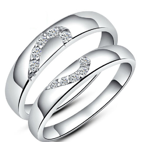 Heart Sterling Silver Couple's Rings