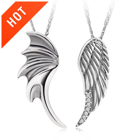 Angel's Wings 925 Sterling Silver Couple Necklaces