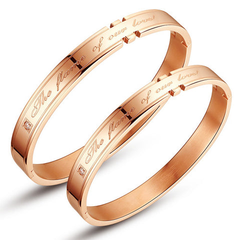 "Personalized Couple Bangles ""The Flame of Our Love"" Stainless Steel Bracelets"