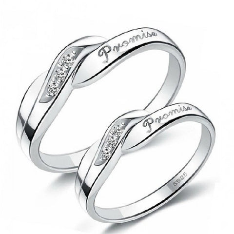 "925 Sterling Silver ""Promise"" Three Crystal Decorated Lover's Couple Rings"