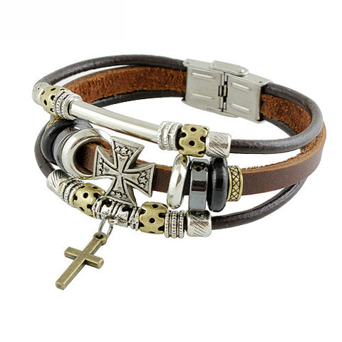 Vintage Cross Leather Brown Men's Bracelet