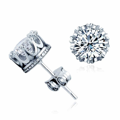 Prong Solitaire Crystal Sterling Silver Stud Earrings
