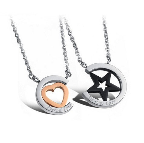romantic-titanium-circle-with-star-heart-lover-s-fashion-necklaces-price-for-a-pair