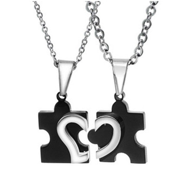 Titanium Jigsaw Pieces Heart Pattern Lover's Necklaces