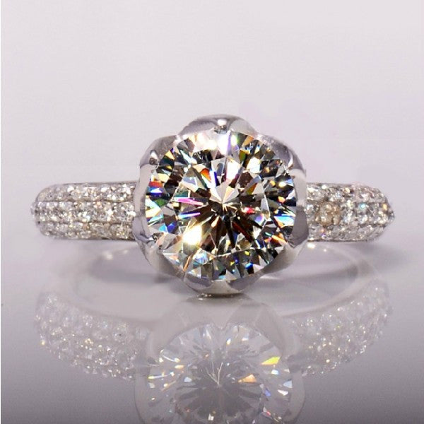Graceful Petaline Shape 925 Sterling Silver With 1 Carat Imitation Diamond Platinum Plated Ring