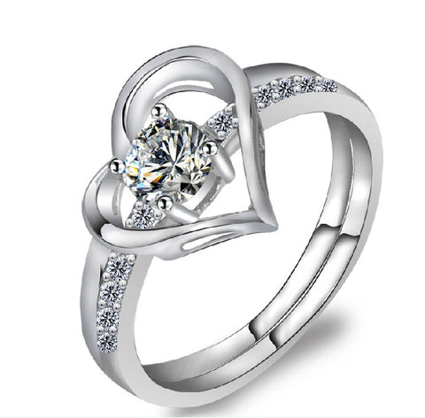 Heart With Heart Silver Diamond Cocktail Ring