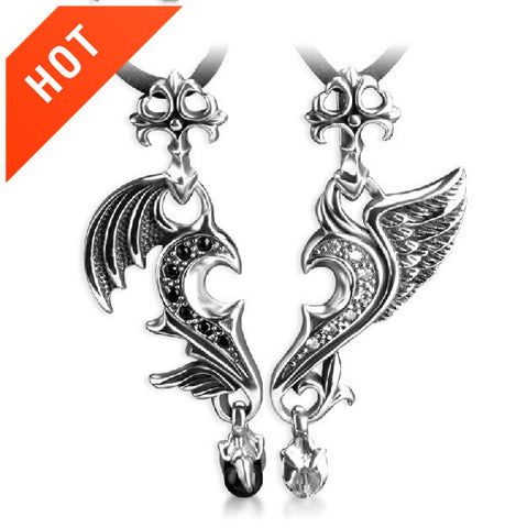 True Love Of Angel And Devil 925 Sterling Silver Couple Necklace(Price For a Pair)