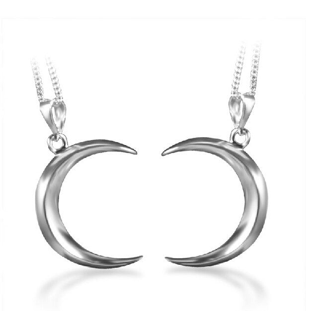 925 Sterling Silver Crescent Moon Couple Necklaces E060163001