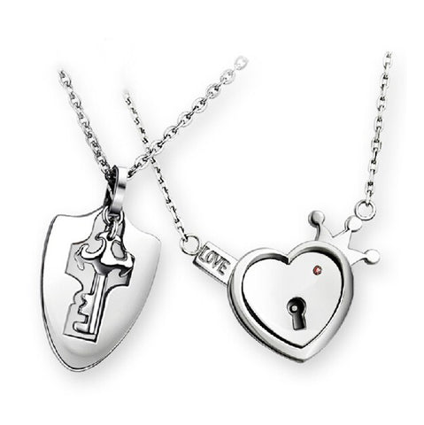 Titanium Steel Key And Lock Couple Necklace(Price For a Pair)