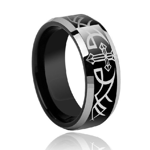 Unique and Fashionable Totem And Cross Tungsten Gold Men's Ring