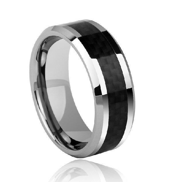 Men's Ring Daily Simple Tungsten Silver-Black