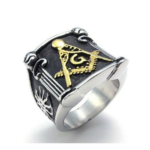 Titanium Steel Masonic For Men's Ring