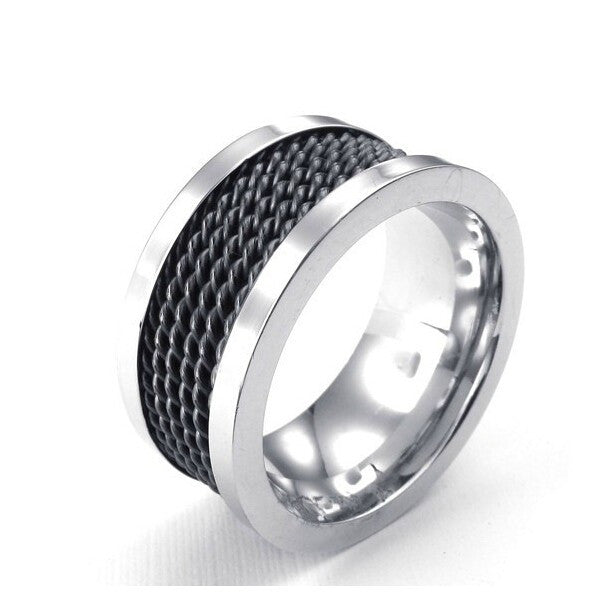 Fashion Individuality Titanium Steel Steel wire For Men's Ring