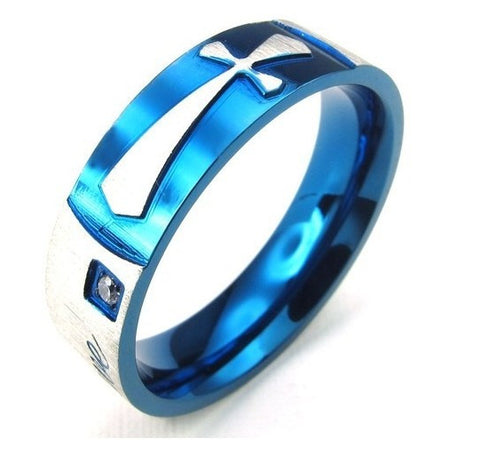 Titanium Steel Cross Men Ring
