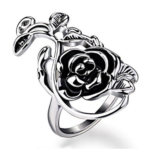 Flower Marcasite Silver Platinum Plated Statement Ring