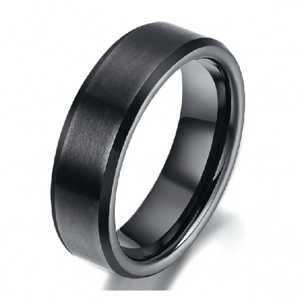Personalized Dull Polished Engravable Black Tungsten Men's Ring