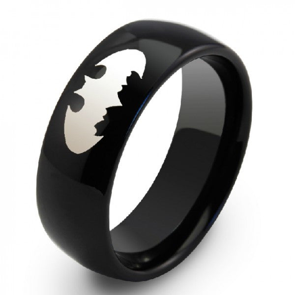 Personalized batman black tungsten unisex men39s ring band for Mens batman wedding ring