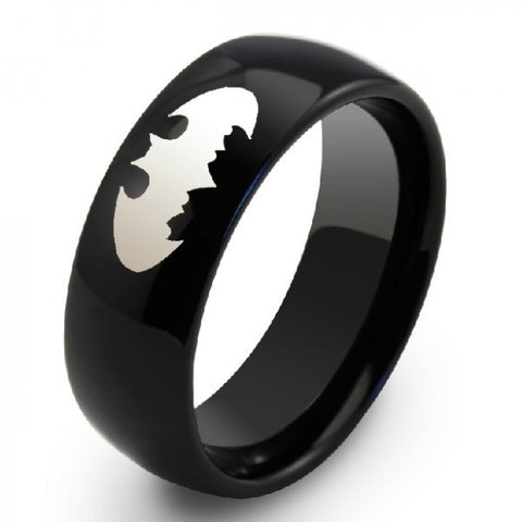 Personalized Batman Black Tungsten Unisex Men's Ring Band