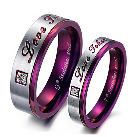 Titanium Steel |Love You| Purple Couple Rings