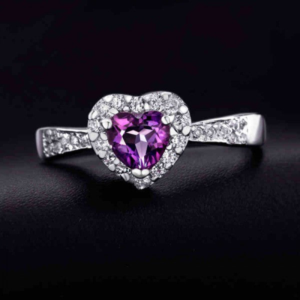 High-end Natural Heart-Shaped Amethyst Silver Ring