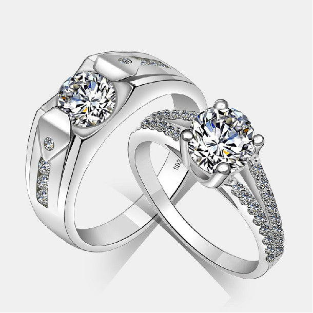 Wedding 925 Sterling Silver Zircon Diamond Couple Engagement Rings