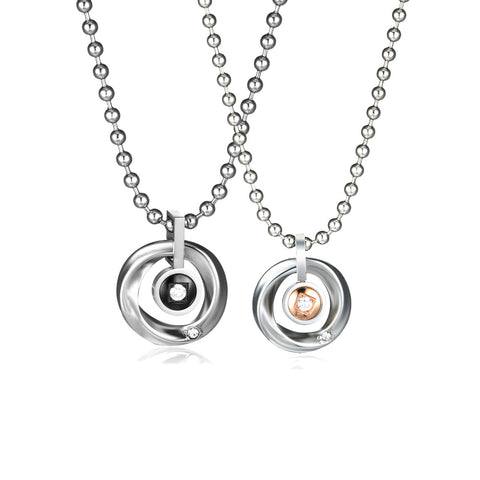 Saturn Pattern Titanium Steel Couple Necklaces
