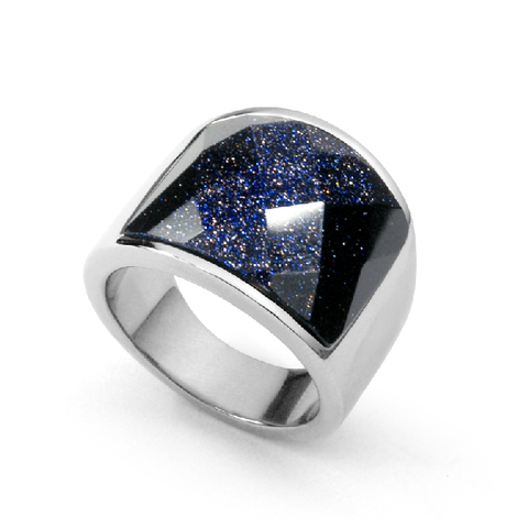 Personalized Men's Ring Daily Blue Sandstone Titanium Steel Silver