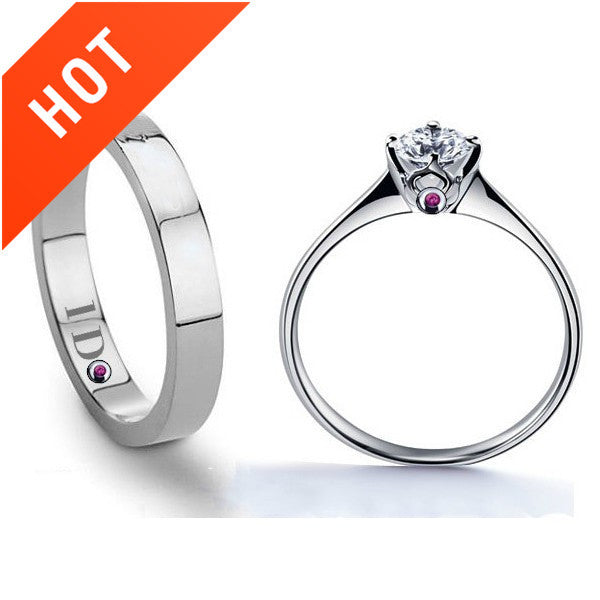 925 Sterling Silver Diamond Couple Rings